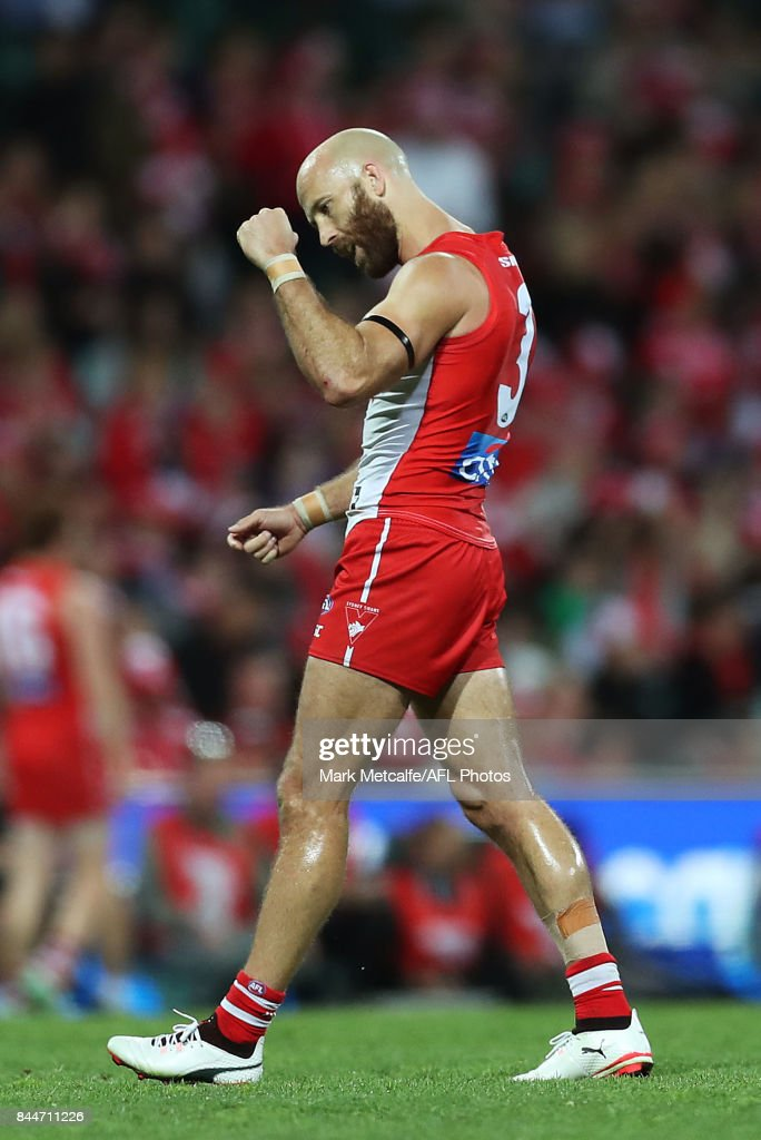 Jarrad McVeigh of the Swans celebrates victory in the AFL Second Elimination Final match between the Sydney Swans and the Essendon Bombers at Sydney Cricket Ground on September 9, 2017 in Sydney, Australia.