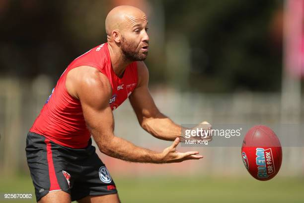 Jarrad McVeigh of the Swans takes part in a drill during a Sydney Swans AFL training session at Lakeside Oval on March 1 2018 in Sydney Australia