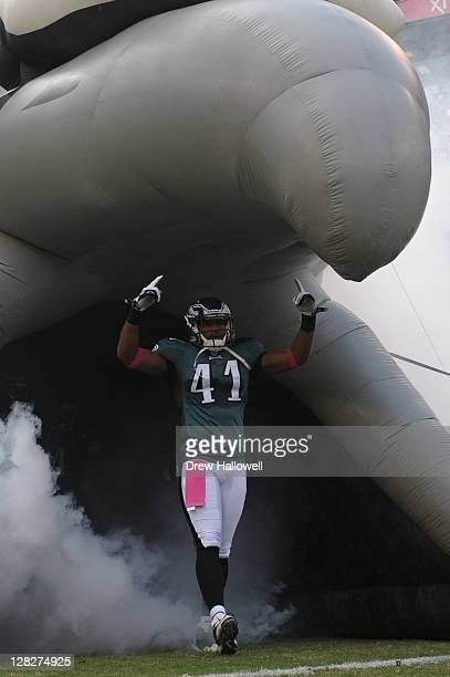 Jarrad Page of the Philadelphia Eagles enters the field before the game against the San Francisco 49ers at Lincoln Financial Field on October 2 2011...