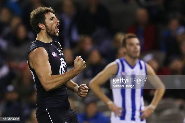 Jarrad Waite of the Blues celebrates a goal during the round 18 AFL match between the Carlton Blues and the North Melbourne Kangaroos at Etihad...