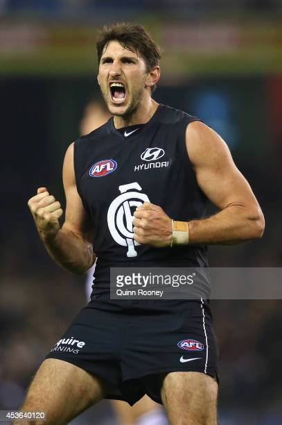 Jarrad Waite of the Blues celebrates kicking a goal during the the round 21 AFL match between the Carlton Blues and the Geelong Cats at Etihad...
