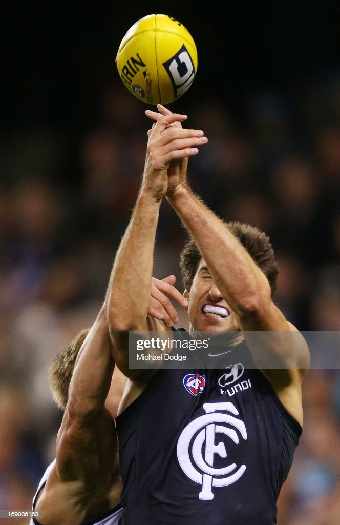 Jarrad Waite of the Blues injures a finger in this contest during the round eight AFL match between the Carlton Blues and Port Adelaide Power at Etihad Stadium on May 19, 2013 in Melbourne, Australia.