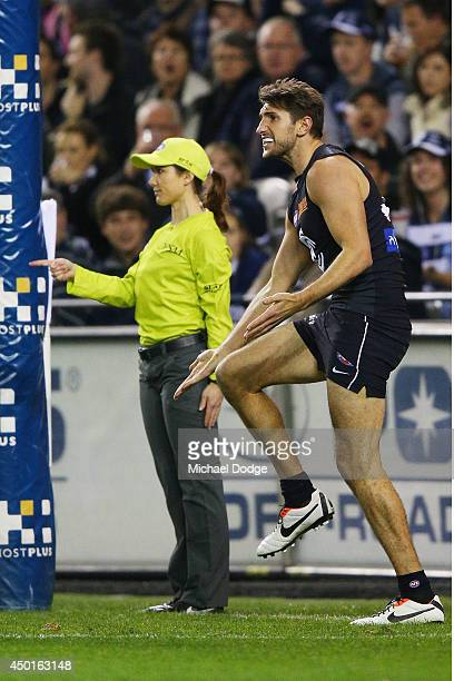 Jarrad Waite of the Blues reacts after Jeff Garlett of the Blues kicked the ball for goal past Tom Lonergan of the Cats that was given as a point by...