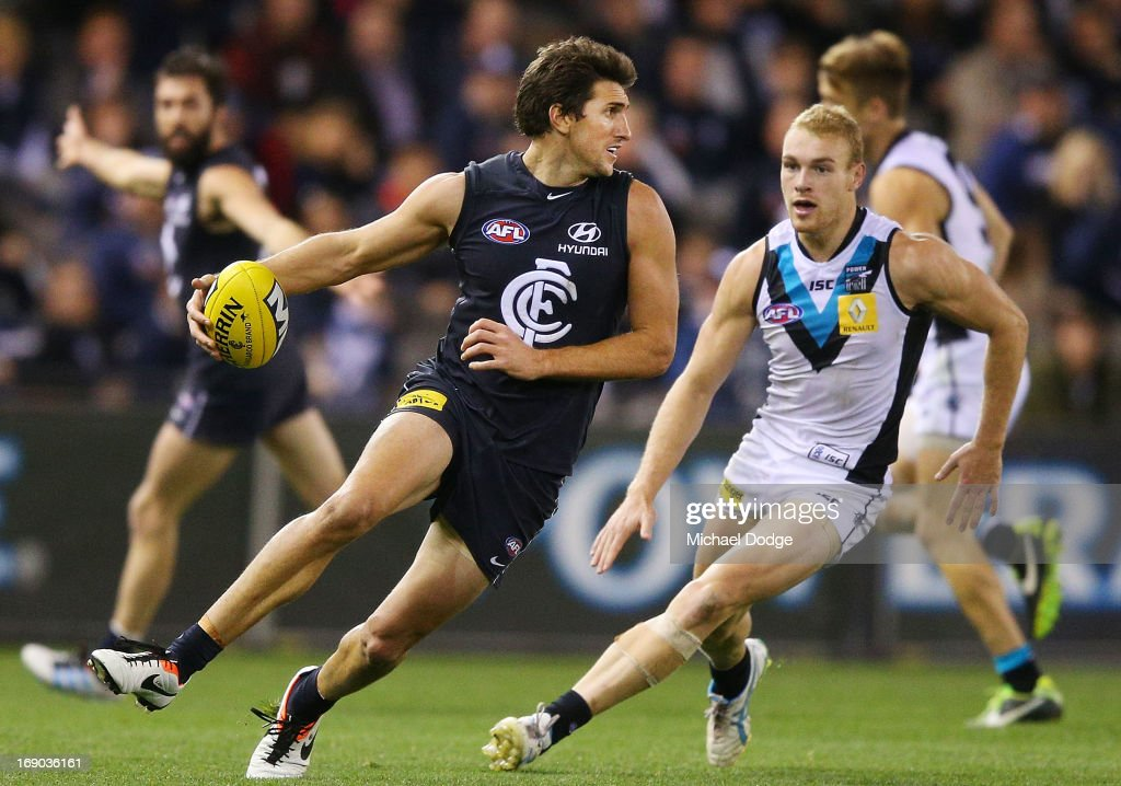 Jarrad Waite of the Blues runs with the ball during the round eight AFL match between the Carlton Blues and Port Adelaide Power at Etihad Stadium on May 19, 2013 in Melbourne, Australia.