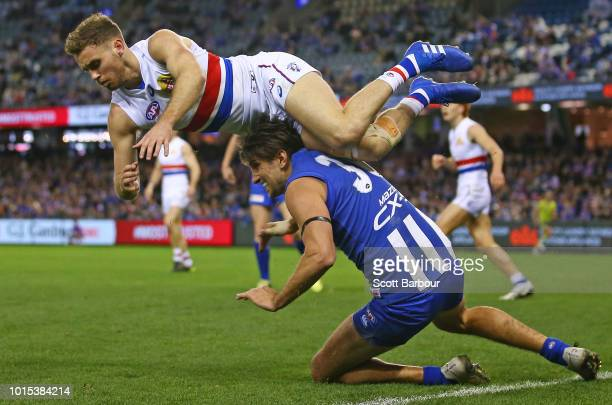 Jarrad Waite of the Kangaroos and Hayden Crozier of the Bulldogs compete for the ball during the round 21 AFL match between the North Melbourne...