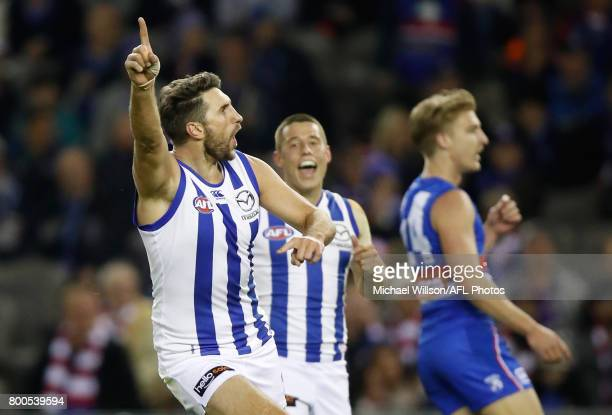 Jarrad Waite of the Kangaroos celebrates a goal during the 2017 AFL round 14 match between the Western Bulldogs and the North Melbourne Kangaroos at...