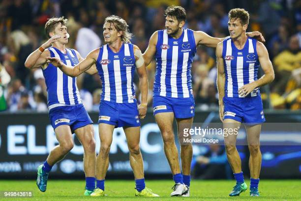Jarrad Waite of the Kangaroos celebrates a goal during the round five AFL match between the North Melbourne Kangaroos and the Hawthorn Hawks at...