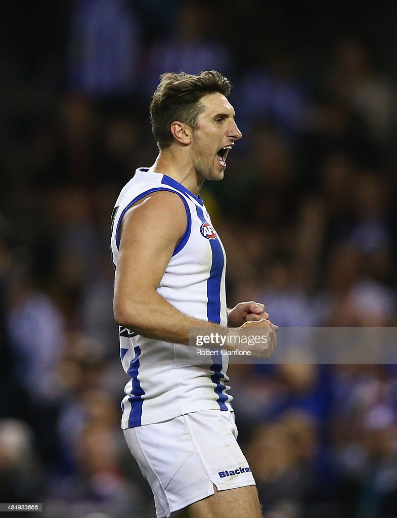 Jarrad Waite of the Kangaroos celebrates after scoring a goal during the round 21 AFL match between the North Melbourne Kangaroos and the Fremantle Dockers at Etihad Stadium on August 23, 2015 in Melbourne, Australia.