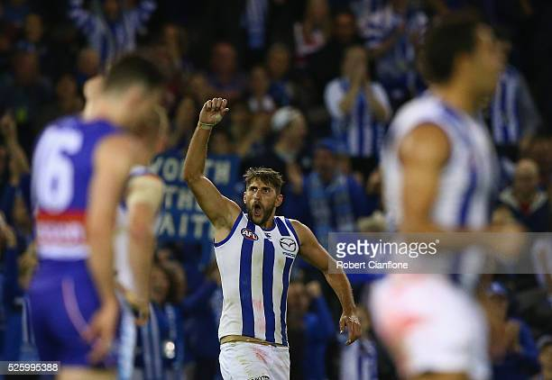Jarrad Waite of the Kangaroos celebrates after scoring a goal during the round six AFL match between the North Melbourne Kangaroos and the Western...