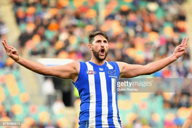 Jarrad Waite of the Kangaroos celebrates kicking a goal during the round seven AFL match between the North Melbourne Kangaroos and the Adelaide Crows...