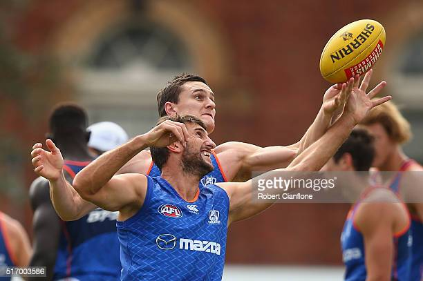 Jarrad Waite of the Kangaroos is challenged by Scott Thompson during a North Melbourne Kangaroos AFL training session at Arden Street Ground on March...