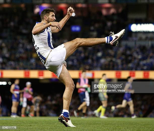 Jarrad Waite of the Kangaroos kicks a goal during the 2016 AFL Round 06 match between the North Melbourne Kangaroos and the Western Bulldogs at...