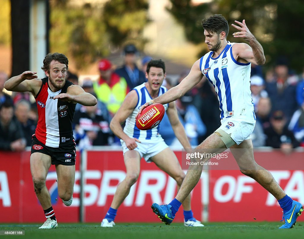 Jarrad Waite of the Kangaroos kicks the ball during the round 20 AFL match between the North Melbourne Kangaroos and the St Kilda Saints at Blundstone Arena on August 15, 2015 in Hobart, Australia.