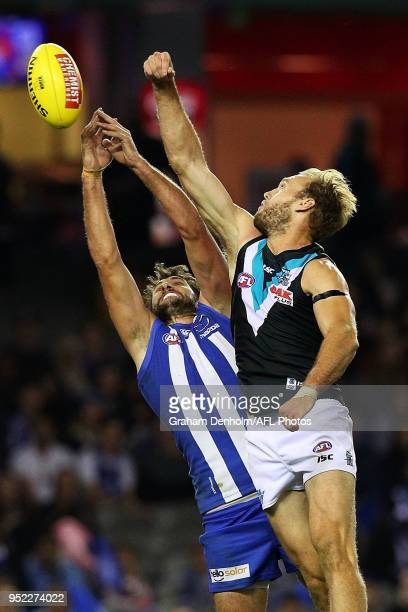 Jarrad Waite of the Kangaroos leaps for a mark during the round six AFL match between the North Melbourne Kangaroos and Port Adelaide Power at Etihad...