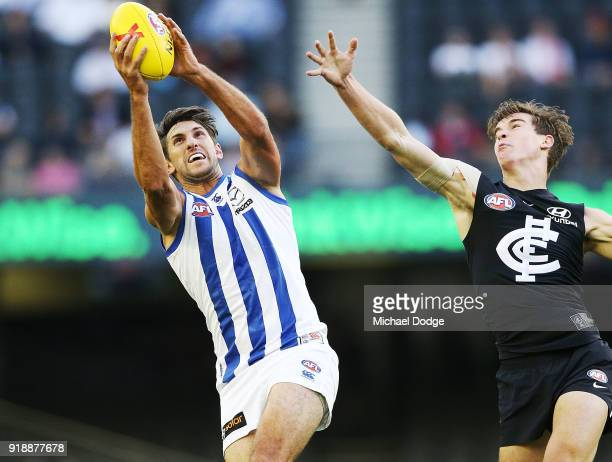 Jarrad Waite of the Kangaroos marks the ball against Caleb Marchbank of the Blues during the AFLX match between Carlton Blues and North Melbourne at...