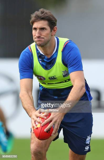 Jarrad Waite of the Kangaroos runs with the ball during a North Melbourne Kangaroos AFL training session at Arden Street Ground on May 16 2018 in...