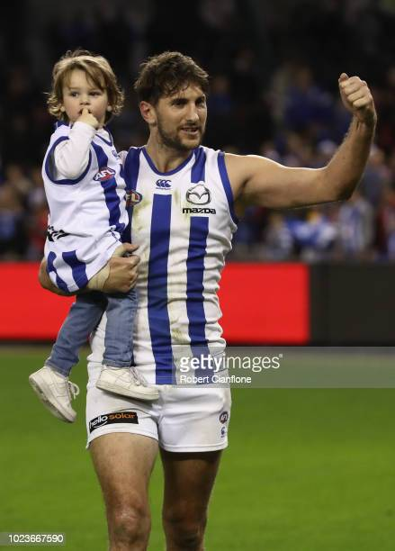 Jarrad Waite of the Kangaroos walks off after playing his last AFL match during the round 23 AFL match between the St Kilda Saints and the North...