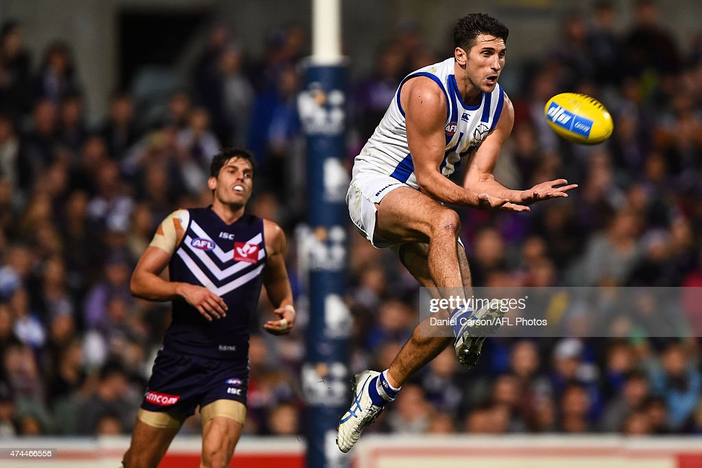 Jarrad Waite of the North Melbourne Kangaroos flies for a mark during the round eight AFL match between the Fremantle Dockers and the North Melbourne Kangaroos at Domain Stadium on May 23, 2015 in Perth, Australia.