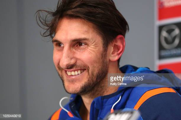 Jarrad Waite of the North Melbourne Kangaroos speaks to the media during a press conference at Arden Street Ground on August 21 2018 in Melbourne...