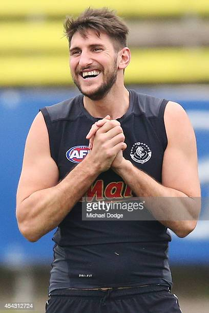 Jarrad Waite reacts during a Carlton AFL training session at Visy Park on August 29 2014 in Melbourne Australia