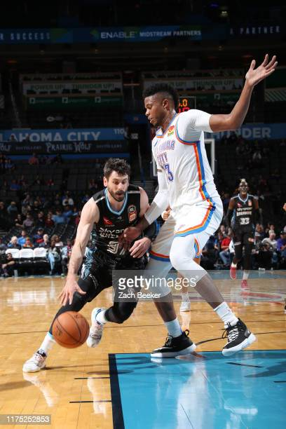Jarrad Weeks of New Zealand Breakers drives to the basket against the Oklahoma City Thunder during the preseason on October 10, 2019 at Chesapeake...