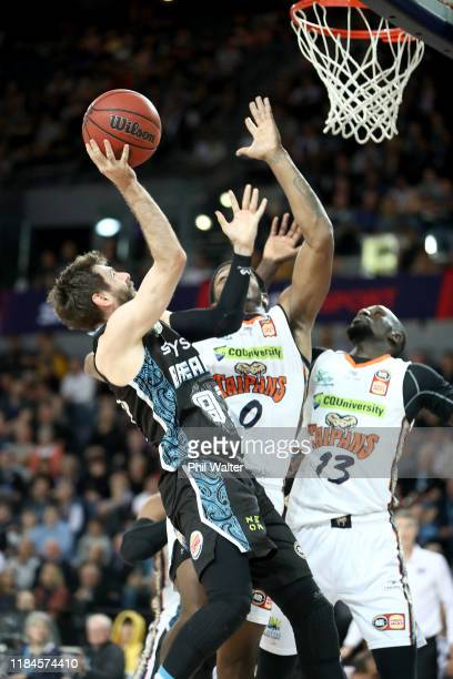 Jarrad Weeks of the Breakers shoots during the round five NBL match between the New Zealand Breakers and the Cairns Taipans at Spark Arena on October...