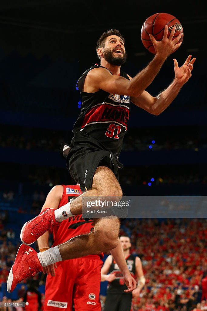 Jarrad Weeks of the Hawks lays up during the NBL Semi Final match between Perth Wildcats and Illawarra Hawks at Perth Arena on February 26, 2016 in Perth, Australia.