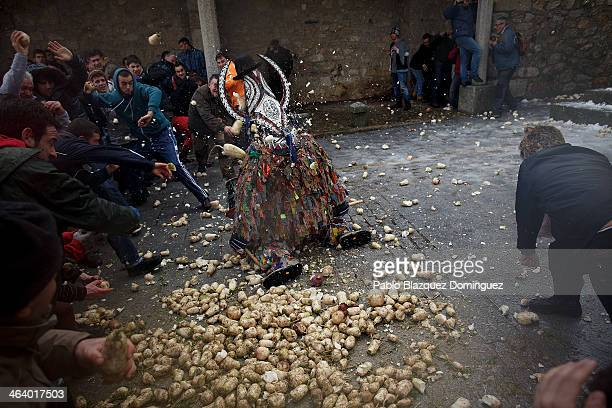 Jarramplas stands on his knees for people to throw him turnips while making his way through the streets beating his drum during the Jarramplas...
