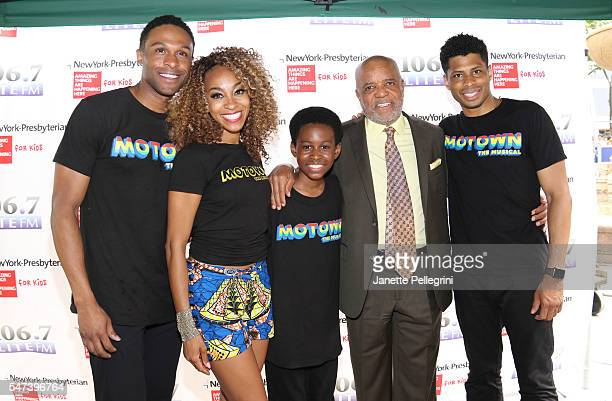 Jarran Muse Allison Semmes JJ Batteast and Chester Gregory from the cast of Motown with Motown creator Berry Gordy attend 1067 Lite FM Broadway in...