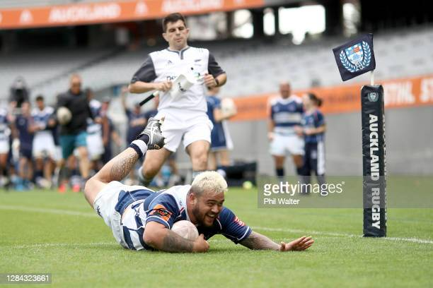 Jarred Adams of Auckland scoreds a try during the round 9 Mitre 10 Cup match between Auckland and Northland at Eden Park on November 07, 2020 in...