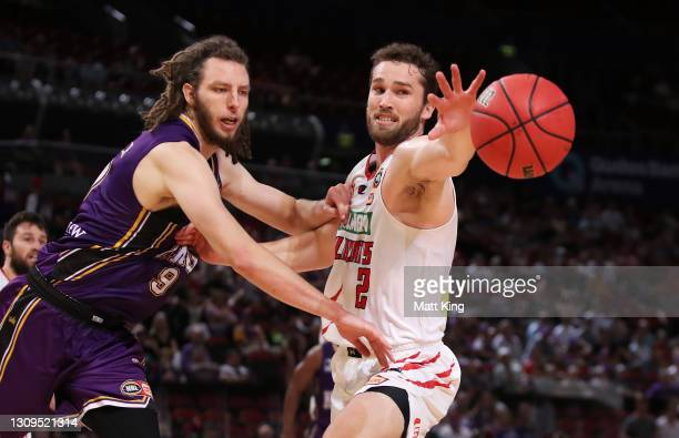 Jarred Bairstow of the Wildcats is challenged by Craig Moller of the Kings during the round 11 NBL match between Sydney Kings and the Perth Wildcats...