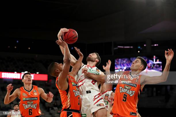 Jarred Bairstow of the Wildcats reaches for the ball during the NBL Cup match between the Cairns Taipans and the Perth Wildcats at John Cain Arena on...
