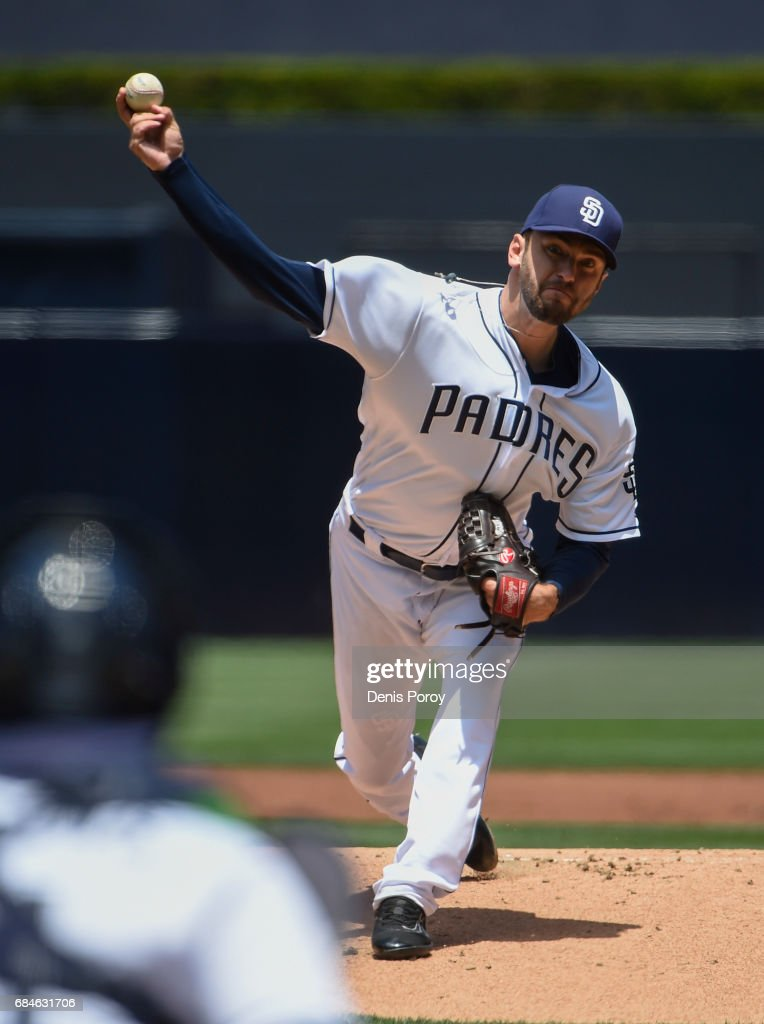 Jarred Cosart #55 of the San Diego Padres pitches during the first inning of a baseball game against the Milwaukee Brewers at PETCO Park on May 18, 2017 in San Diego, California.