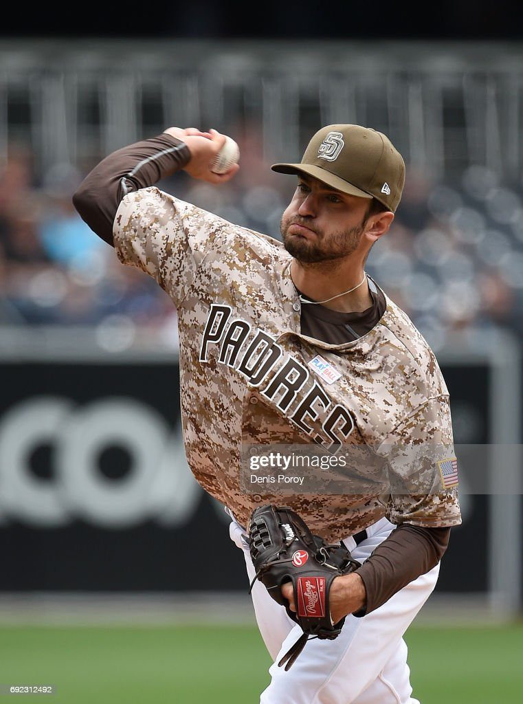 Jarred Cosart #55 of the San Diego Padres pitches during the first inning of a baseball game against the Colorado Rockies at PETCO Park on June 4, 2017 in San Diego, California.