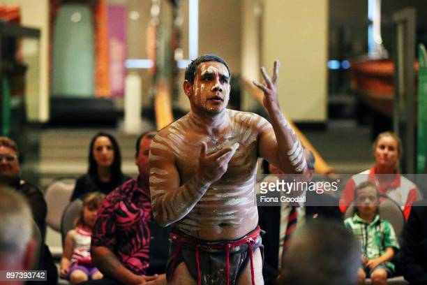 Jarred Fogarty of the Yugambeh clan performs at Auckland War Memorial Museum during the Commonwealth Games Queens Baton Relay Visit to Auckland on...