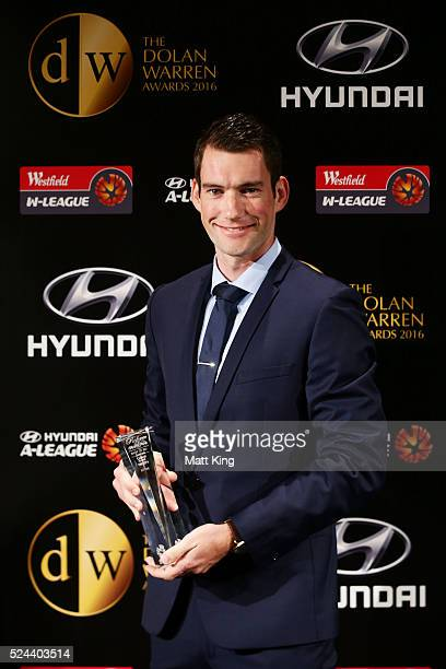 Jarred Gillett poses with the Hyundai ALeague Referee of the Year Award during the 2016 FFA Dolan Warren Awards at Carriageworks on April 26 2016 in...