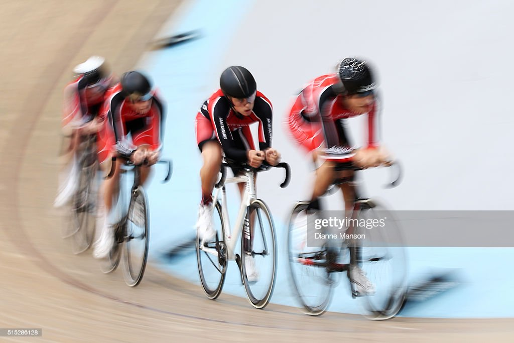 Jarred Pidcock, Liam Taylor, Felix Donnelly and Jono Stewart of Canterbury compete in the U17 Boys 3000m Team Pursuit final during the New Zealand Age Group Track National Championships on March 13, 2016 in Invercargill, New Zealand.