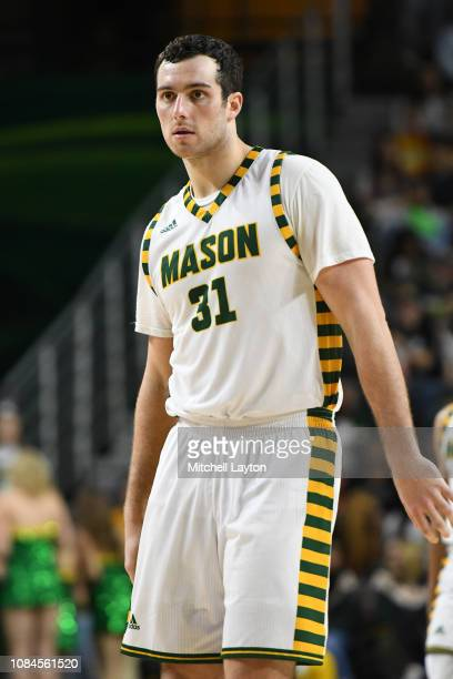 Jarred Reuter of the George Mason Patriots looks on during a college basketball game against the Southern University Jaguars at the Eagle Bank Arena...