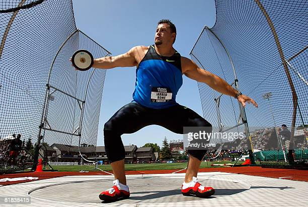 Jarred Rome competes in the men's discus throw final during day eight of the US Track and Field Olympic Trials at Hayward Field on July 6 2008 in...