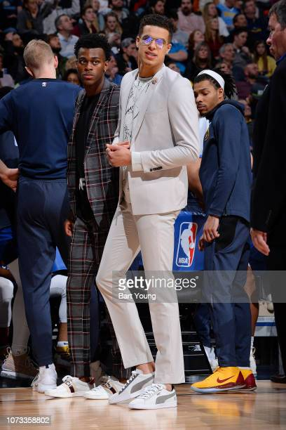 Jarred Vanderbilt and Michael Porter Jr #1 of the Denver Nuggets stand curtsied during the game against the Oklahoma City Thunder on December 14 2018...