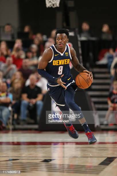 Jarred Vanderbilt of the Denver Nuggets handles the ball against the Portland Trail Blazers during a preseason game on October 8 2019 at the Veterans...