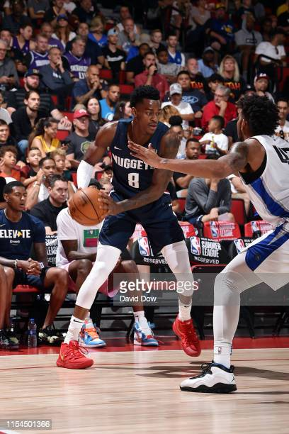 Jarred Vanderbilt of the Denver Nuggets handles the ball during the game against the Orlando Magic during Day 3 of the 2019 Las Vegas Summer League...