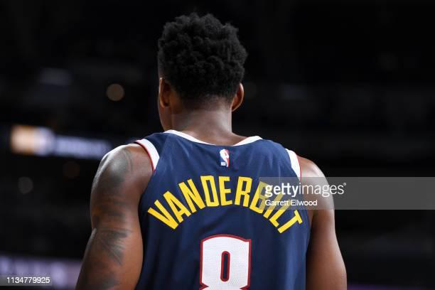 Jarred Vanderbilt of the Denver Nuggets seen on court during the game against the San Antonio Spurs on April 3 2019 at the Pepsi Center in Denver...