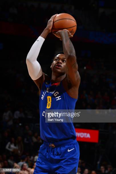 Jarred Vanderbilt of the Denver Nuggets shoots the ball against the Phoenix Suns on January 25 2019 at the Pepsi Center in Denver Colorado NOTE TO...