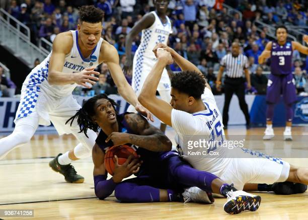 Jarred Vanderbilt of the Kentucky Wildcats calls a timeout late in the second half against Kevin Knox and PJ Washington of the Kentucky Wildcats...