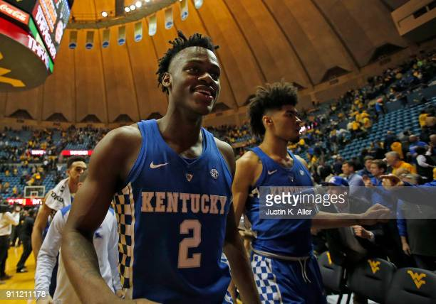 Jarred Vanderbilt of the Kentucky Wildcats celebrates after defeating the West Virginia Mountaineers 8376 at the WVU Coliseum on January 27 2018 in...