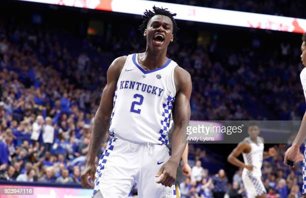 Jarred Vanderbilt of the Kentucky Wildcats celebrates against the Missouri Tigers at Rupp Arena on February 24 2018 in Lexington Kentucky