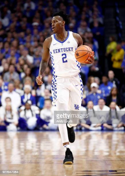 Jarred Vanderbilt of the Kentucky Wildcats dribbles the ball against the Missouri Tigers at Rupp Arena on February 24 2018 in Lexington Kentucky
