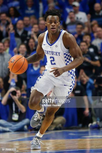 Jarred Vanderbilt of the Kentucky Wildcats dribbles with the ball against the Vanderbilt Commodores during the second half at Rupp Arena on January...