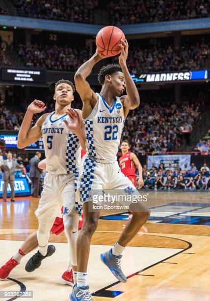 Jarred Vanderbilt of the Kentucky Wildcats moves to drive the ball back up court during the NCAA Division I Men's Championship First Round game...